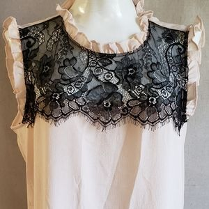 ROSE & Olive Ruffles Sleeveless Top Blk Lace L
